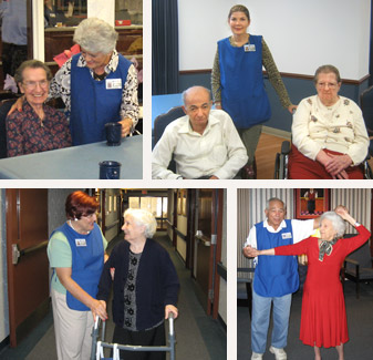 Volunteers serving residents at Greek American Rehabilitation & Care Centre
