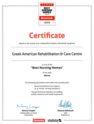 Newsweek Certificate - One of the best nursing homes in the state of Illinois