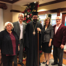 His Eminence Metropolitan Nathanael along with Dino Varnavas, Administrator, Peter Karahalios, President of the Board of Directors, Effie Galetsis-Lalios, CFO and Pat Gerbanas, Business Development Director