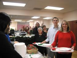 At the buffet for Greek American Rehabilitation and Care Centre's family holiday brunch